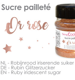 Pot de sucre pailleté or rose réf.4547
