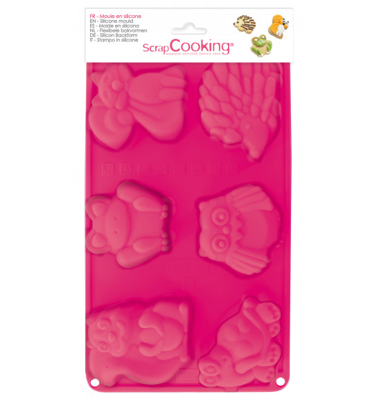 Silicone mould with 6 Forest animals-themed cavities