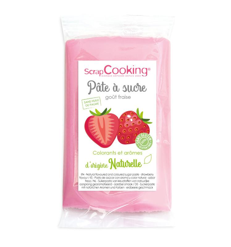 Pâte à sucre rose goût fraise 250gr