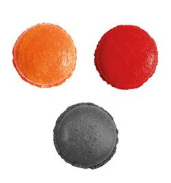 3 colorants en poudre Halloween noir, orange, rouge