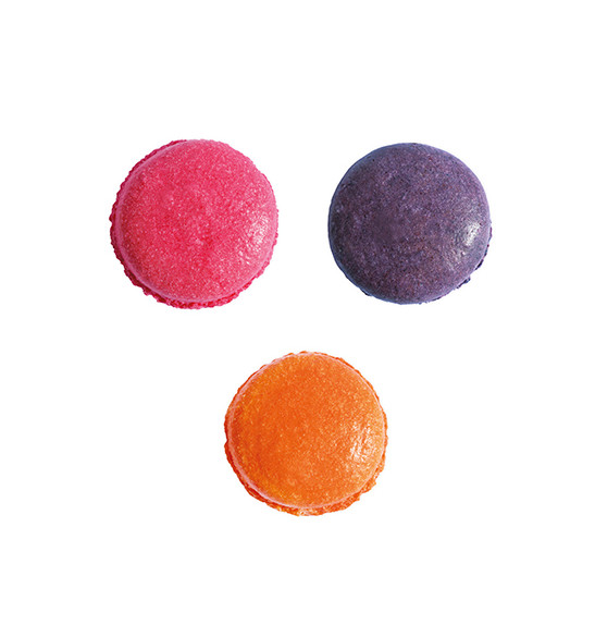 3 colorants en poudre orange, violet, rose