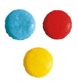 3 colorants en poudre jaune, rouge, bleu