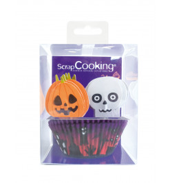 24 caissettes + 24 cake toppers Halloween réf.5036