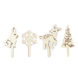 4 accessoires déco bois Forêt enchantée réf.4989