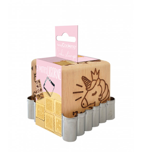 Unicorn wood cookie stamp + cookie cutter