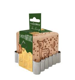 Tampon à biscuits bois forêt enchantée + découpoir réf.5127