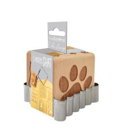 Tampon à biscuits bois chat + découpoir