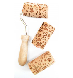 3 mini rouleaux empreintes bois interchangeables réf.3963