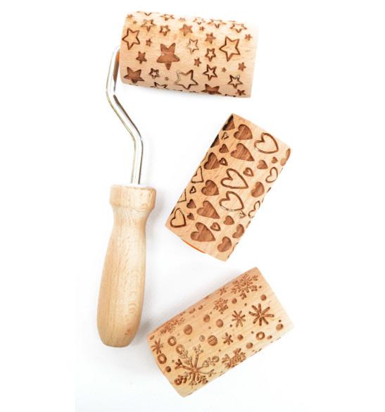3 mini rouleaux empreintes bois interchangeables