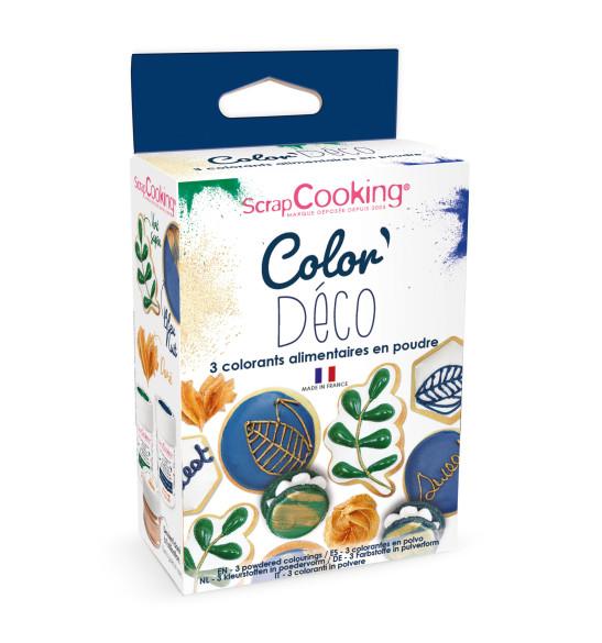 3 colorants en poudre Déco vert, bleu, doré