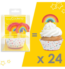 24 caissettes + 24 cake toppers rainbow réf.5051