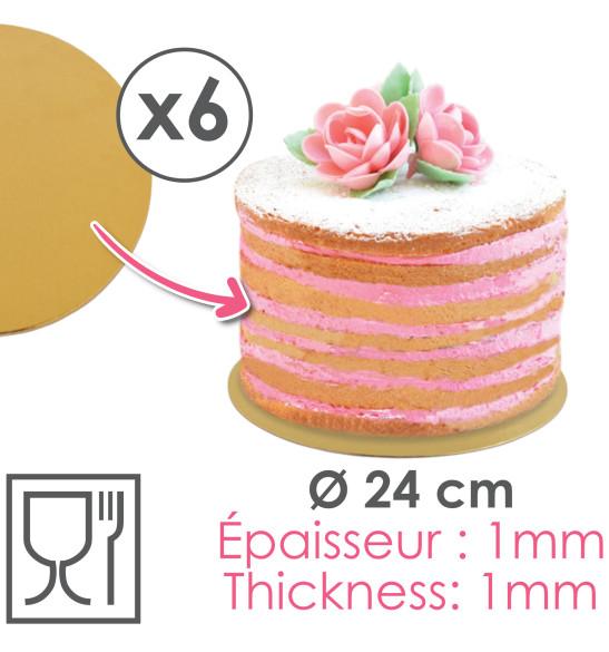 6 supports gâteaux or/noir Ø24cm