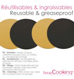 6 supports gâteaux or/noir 24cm réf.5201