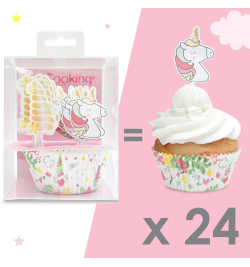 24 caissettes + 24 cake toppers licorne réf.5053