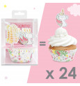 24 caissettes + 24 cake toppers licorne