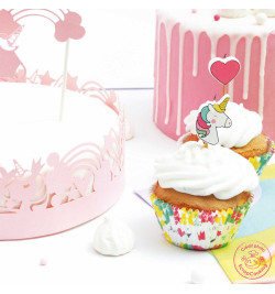 Ambiance 24 caissettes + 24 cake toppers licorne réf.5053