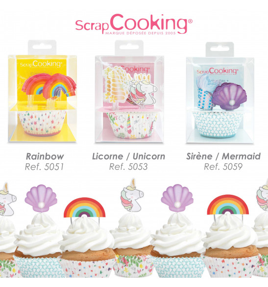 24 caissettes + 24 cake toppers sirène
