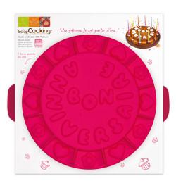 Moule à gâteau silicone rond bon anniversaire réf;9003