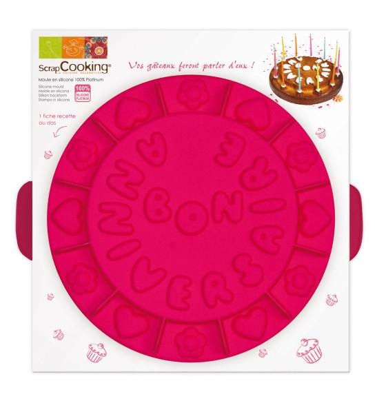 Moule à gâteau silicone rond bon anniversaire