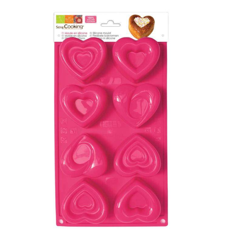 Moule à gâteaux silicone 8 cœurs
