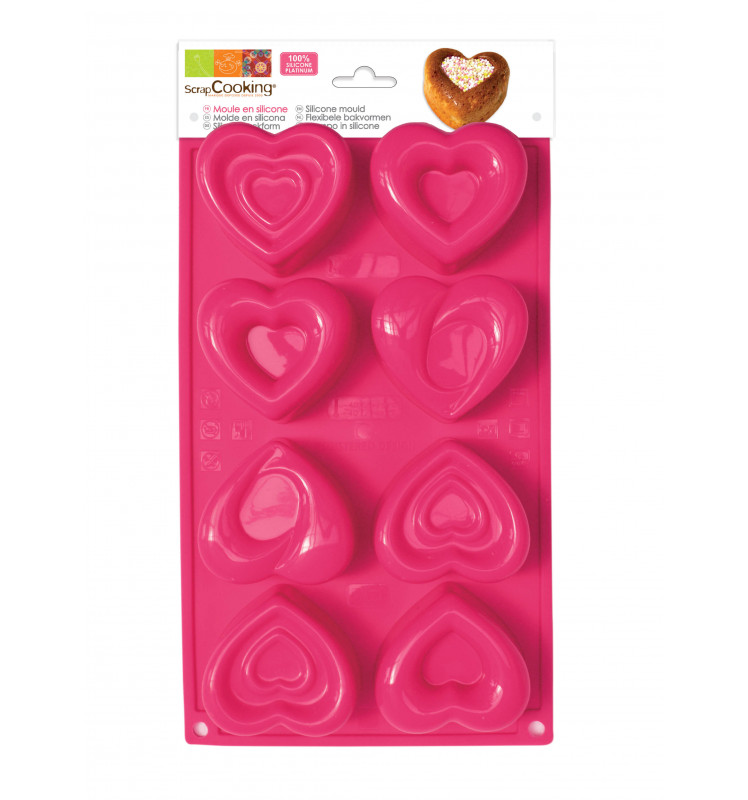 ScrapCooking® silicone mould with 8 heart-shaped cavities
