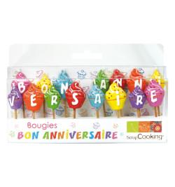 Lot de 15 bougies bon anniversaire réf.5005