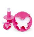 """3 Sugarpaste plunger cutters - """"heart, flower, butterfly"""""""