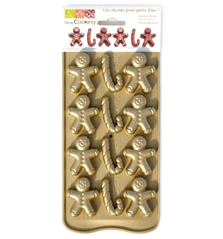 Moule silicone chocolat petits hommes d'épices et candy cannes