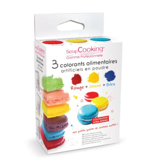 3 colorants alimentaires en poudre jaune, rouge, bleu