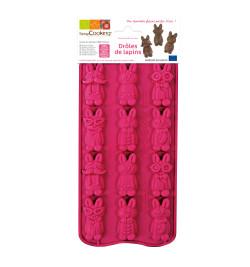 Moule silicone chocolat drôles de lapins réf.6731