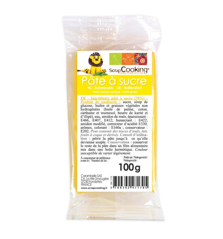 Pâte à sucre jaune 100g