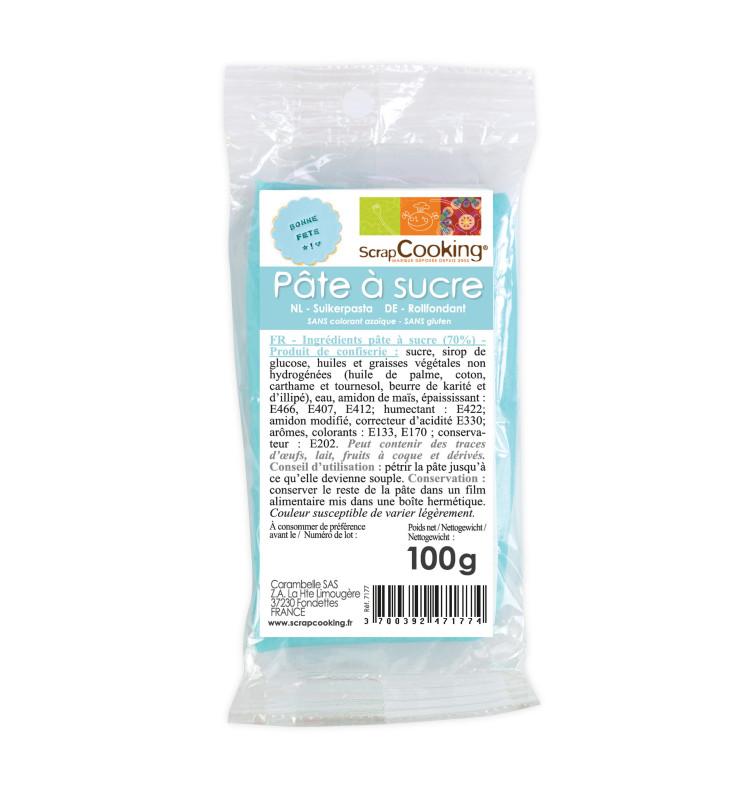 Pâte à sucre bleu clair 100g