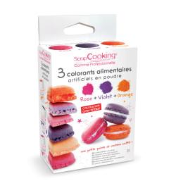 3 colorants alimentaires en poudre orange, violet, rose réf.4013