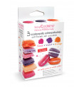 3 colorants alimentaires en poudre orange, violet, rose