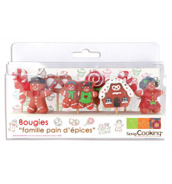 8 family gingerbread candles
