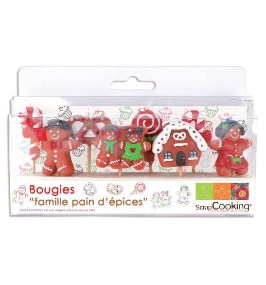 """Lot de 8 bougies """"Famille pain d'épices"""""""