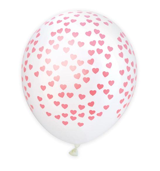"6 ballons "" coeurs"" Ø 28 cm"