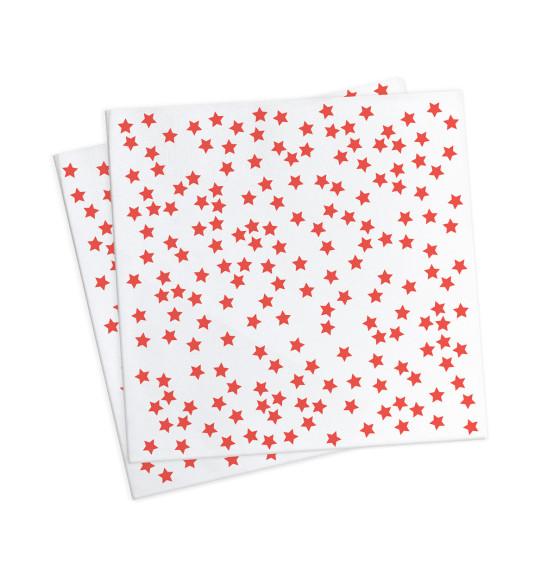 """20 serviettes """"étoiles rouges"""" 33x33cm"""