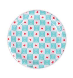 """8 assiettes  """"géométrie étoiles bleues"""" Ø23cm"""