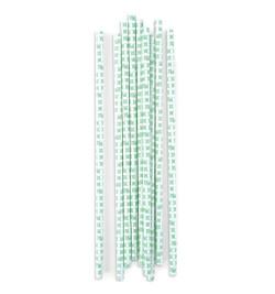 20 pailles cartonnées rosaces vert d'eau réf.0203