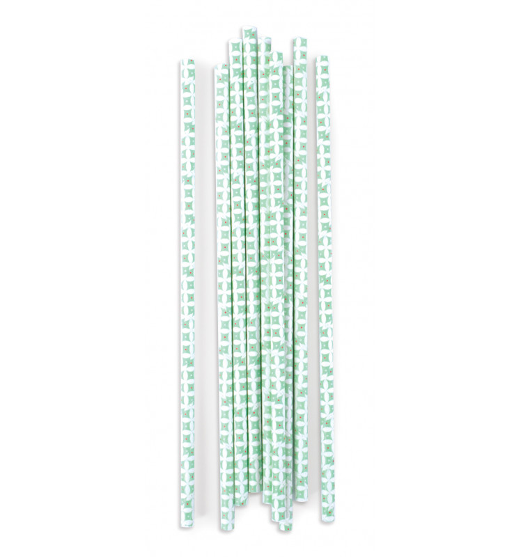 20 Paper straws Pale green rosettes