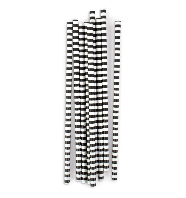 """20 Pailles cartonnées """"rayures noires"""""""