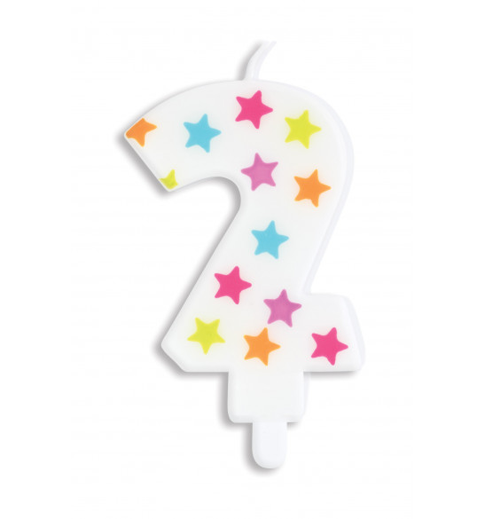 Bougie à étoiles chiffre 2