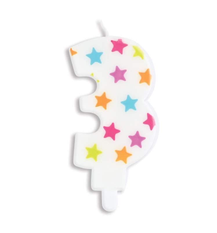 Bougie à étoiles chiffre 3