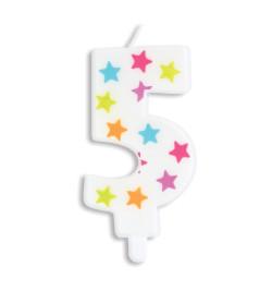 Bougie à étoiles chiffre 5 réf.0385