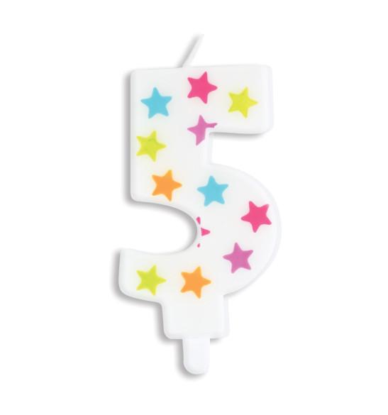 Bougie à étoiles chiffre 5