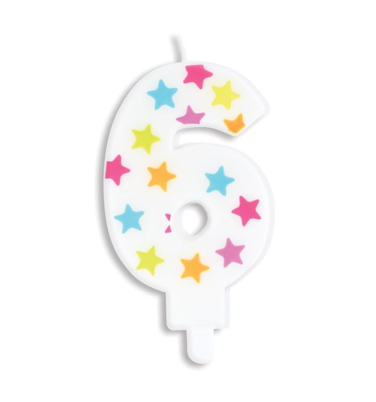 Bougie à étoiles chiffre 6