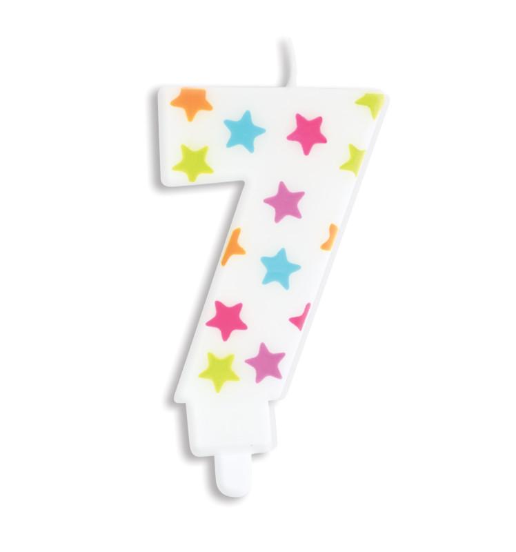 Bougie à étoiles chiffre 7