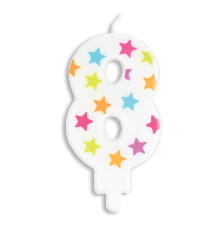 Bougie à étoiles chiffre 8