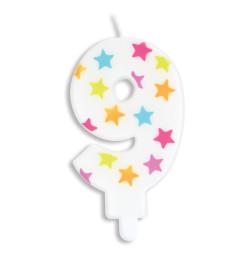 Bougie à étoiles chiffre 9 réf.0389
